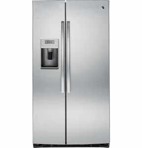PSE25KSHSS GE Profile Series Energy Star 25.4 Cu. Ft. Side-by-Side Refrigerator with Hidden Hinges - Stainless Steel