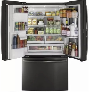 "PYD22KBLTS GE Profile 36"" 22.2 Cu. Ft. Counter-Depth French Door Refrigerator with Door in Door and Hands-Free AutoFill - Black Stainless Steel"