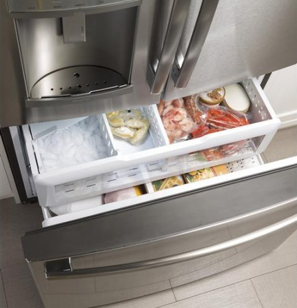 """PYE22KSKSS GE Profile 36"""" 22.2 Cu. Ft. Counter-Depth French-Door Refrigerator with Hands Free Autofill - Stainless Steel"""