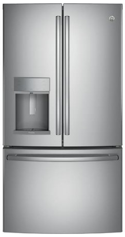 "PYE22KSKSS GE Profile 36"" 22.2 Cu. Ft. Counter Depth French-Door Refrigerator with Hands Free Autofill - Stainless Steel"