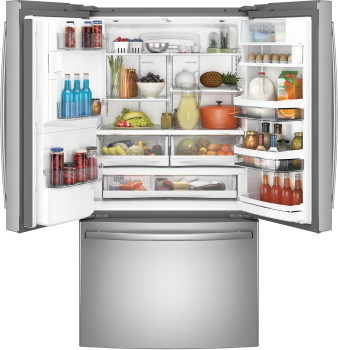 "PYE22PSKSS GE 36"" Counter Depth French Door Refrigerator with 22.2 cu. ft. Capacity, Keurig K-Cup System and and Smart Home Enabled with Wi-Fi - Stainless Steel"