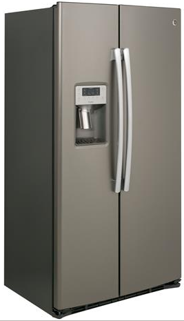 "PZS22MMKES GE Profile 36"" Counter Depth Side-By-Side 22.1 Cu. Ft. Refrigerator with Quick Ice and Led Lighting - Slate"