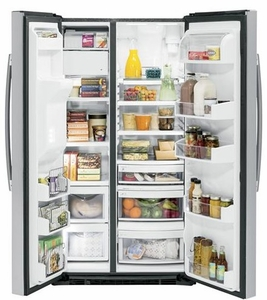 """PZS22MSKSS GE Profile 36"""" Side-By-Side Counter Depth 22.1 Cu. Ft. Refrigerator with Quick Ice & LED Lighting - Stainless Steel"""