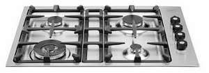 "Q30400X Bertazzoni Professional 30"" 4-Burner Low-Profile Gas Cooktop - Stainless Steel"