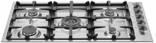 "Q36M500X Bertazzoni 36"" Gas Cooktop with 5 Sealed Burners 18,000 BTU Dual-Ring Power Burner - Stainless Steel"