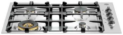 "QB30M400X Bertazzoni 30"" Gas Cooktop with 4 Sealed Brass Burners 18,000 BTU Power Burner - Stainless Steel"