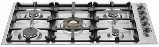 "QB36M500X Bertazzoni 36"" Gas Cooktop with 5 Sealed Burners 18,000 BTU Dual-Ring Power Burner - Stainless Steel"