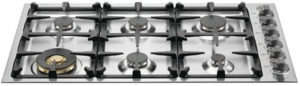 "QB36M600X Bertazzoni 36"" Gas Cooktop with 6 Sealed Brass Burners 18,000 BTU Dual-Ring Power Burner - Stainless Steel"