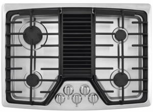 "RC30DG60PS Frigidaire 30"" 4 Burner Gas Cooktop with Built-In 500 CFM Downdraft Exhaust - Stainless Steel"