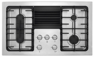 "RC36DG60PS Frigidaire 36"" 4 Burner Gas Cooktop with Built-In 500 CFM Downdraft Exhaust - Stainless Steel"