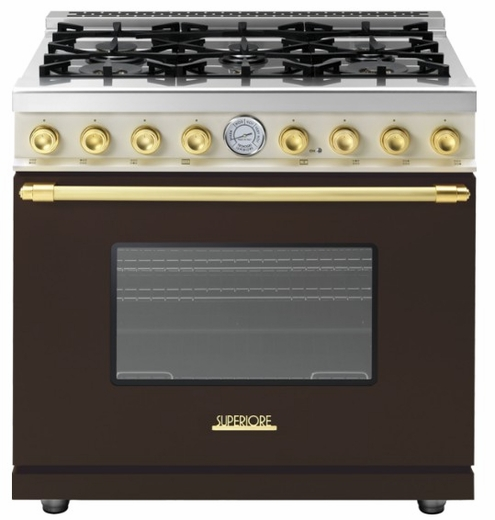 "RD361GCMG Superiore 36"" DECO Gas Range with Classic Door and Extra Large Gas Oven - Brown with Gold Accent"