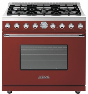 "RD361GCRC Superiore 36"" DECO Gas Range with Classic Door and Extra Large Gas Oven - Red with Chrome Accent"