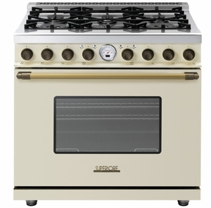 """RD361SCCB Superiore 36"""" DECO Series Duel Fuel Free Standing Range with Self Clean Oven and 6 Brass Burners - Cream with Bronze Accent"""