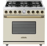"RD361SCCB Superiore 36"" DECO Series Duel Fuel Free Standing Range with Self Clean Oven and 6 Brass Burners - Cream with Bronze Accent"