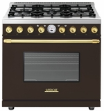 "RD361SCMG Superiore 36"" DECO Series Duel Fuel Free Standing Range with Self Clean Oven and 6 Brass Burners - Brown with Gold Accent"