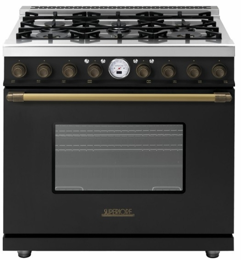 "RD361SCNB Superiore 36"" DECO Series Dual Fuel Free Standing Range with Self Clean Oven and 6 Brass Burners - Black with Bronze Accent"