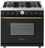 "RD361SCNB Superiore 36"" DECO Series Duel Fuel Free Standing Range with Self Clean Oven and 6 Brass Burners - Black with Bronze Accent"