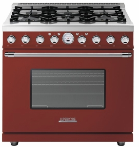 "RD361SCRC Superiore 36"" DECO Series Duel Fuel Free Standing Range with Self Clean Oven and 6 Brass Burners - Red with Chrome Accent"