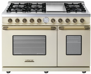 "RD482GCCB Superiore 48"" DECO Gas and Electric Range with Classic Door, Griddle, and Two Extra Large Gas Ovens - Cream with Bronze Accent"