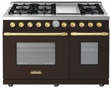 "RD482GCMG Superiore 48"" DECO Gas and Electric Range with Classic Door, Griddle, and Two Extra Large Gas Ovens - Brown with Gold Accent"