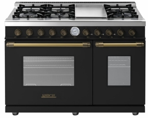 "RD482GCNB Superiore 48"" DECO Gas and Electric Range with Classic Door, Griddle, and Two Extra Large Gas Ovens - Black with Bronze Accent"