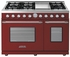 "RD482GCRC Superiore 48"" DECO Gas and Electric Range with Classic Door, Griddle, and Two Extra Large Gas Ovens - Red with Chrome Accent"