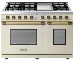 "RD482SCCB Superiore 48"" DECO Series Gas and Electric Range with Classic Door, Griddle, and Two Gas Ovens - Cream with Bronze Accent"