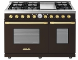"RD482SCMG Superiore 48"" DECO Series Duel Fuel Free Standing Range with Classic Door, Griddle, and Two Gas Ovens - Brown with Gold Accent"