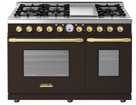 """RD482SCMG Superiore 48"""" DECO Series Duel Fuel Free Standing Range with Classic Door, Griddle, and Two Gas Ovens - Brown with Gold Accent"""