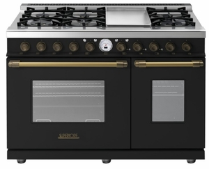 "RD482SCNB Superiore 48"" DECO Series Duel Fuel Free Standing Range with Classic Door, Griddle, and Two Gas Ovens - Black with Bronze Accent"