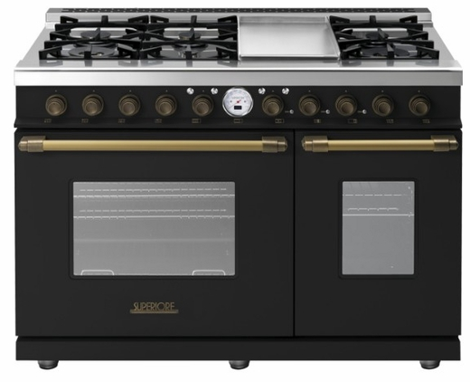 "RD482SCNB Superiore 48"" DECO Series Dual Fuel Free Standing Range with Classic Door, Griddle, and Two Gas Ovens - Black with Bronze Accent"