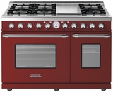 "RD482SCRC Superiore 48"" DECO Series Duel Fuel Free Standing Range with Classic Door, Griddle, and Two Gas Ovens - Red with Chrome Accent"