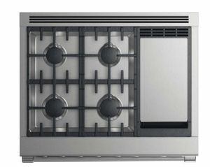 "RDV2364GDLN Fisher & Paykel 36"" Dual Fuel Liquid Propane Gas Range with 4 Burners and Griddle - Stainless Steel"