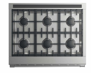 """RDV2366NN Fisher & Paykel 36"""" Dual Fuel Natural Gas Range with 6 Burners and LED Halo Controls - Stainless Steel"""
