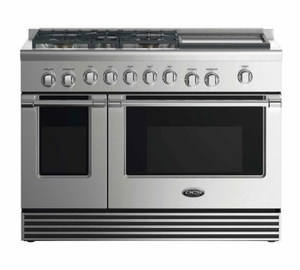 """RDV2485GDL DCS 48"""" Liquid Propane Gas Duel Fuel Range with 5 Burners and Griddle - Stainless Steel"""