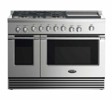 "RDV2485GDL DCS 48"" Liquid Propane Gas Duel Fuel Range with 5 Burners and Griddle - Stainless Steel"