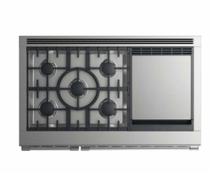"""RDV2485GDLN Fisher & Paykel 48"""" Liquid Propane Gas Dual Fuel Range with 5 Burners and Griddle - Stainless Steel"""
