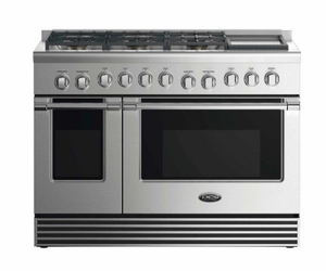 """RDV2486GDL DCS 48"""" Liquid Propane Gas Duel Fuel Range with 6 Burners and Griddle - Stainless Steel"""