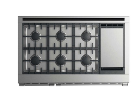"RDV2486GDLN Fisher & Paykel 48"" Liquid Propane Gas Dual Fuel Range with 6 Burners and Griddle - Stainless Steel"