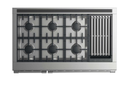 """RDV2486GLN DCS 48"""" Natural Gas Duel Fuel Range with 6 Burners and Grill - Stainless Steel"""
