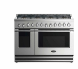"""RDV2488N DCS 48"""" Natural Gas Duel Fuel Range with 8 Burners and LED Halo Controls - Stainless Steel"""