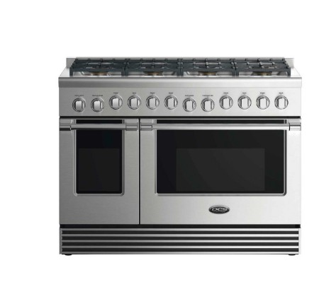 "RDV2488N DCS 48"" Natural Gas Duel Fuel Range with 8 Burners and LED Halo Controls - Stainless Steel"