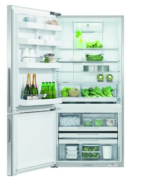 "RF170BLPUX6 Fisher & Paykel 32"" ActiveSmart Ice & Water Bottom Freezer Counter Depth Refrigerator with 17.6 cu. ft. Capacity and Freezer Tray - Left Hinge - Stainless Steel"