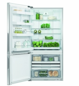 """RF170BLPX6N Fisher & Paykel 32"""" ActiveSmart Bottom Freezer Counter Depth Refrigerator with 17.6 cu. ft. Capacity and Freezer Tray - Left Hinge - Stainless Steel"""