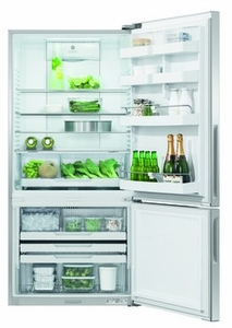 """RF170BRPUX6N Fisher & Paykel 32"""" ActiveSmart Ice & Water Bottom Freezer Counter Depth Refrigerator with 17.6 cu. ft. Capacity and Freezer Tray - Right Hinge - Stainless Steel"""