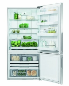 "RF170BRPX6N Fisher & Paykel 32"" ActiveSmart Bottom Freezer Counter Depth Refrigerator with 17.6 cu. ft. Capacity and Freezer Tray - Right Hinge - Stainless Steel"