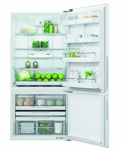 """RF170BRPW6N Fisher & Paykel 32"""" ActiveSmart Bottom Freezer Counter Depth Refrigerator with 17.6 cu. ft. Capacity and Freezer Tray - Right Hinge - White"""