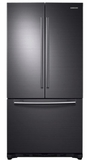 """RF20HFENBSG Samsung 33"""" 20 cu. ft. Capacity French Door Refrigerator with Twin Cooling System and LED Lighting - Black Stainless Steel"""