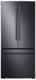 "RF220NCTASG Samsung 30"" 21.8 cu. ft. Capacity French Door Refrigerator with High-Efficiency LED Lighting - Black Stainless Steel"