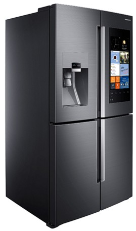 "RF22K9581SG Samsung 36"" 22 cu. ft. Counter Depth 4 Door Flex Refrigerator with Family Hub - Black Stainless Steel"
